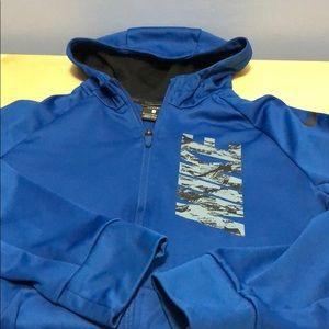 Boys blue nike zip hoodie size large